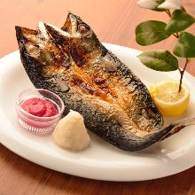 Charcoal grilled opened mackerel