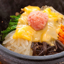 Stone grilled cheese bibimbap