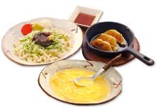 Ja ja men (noodles topped with ground meat) and gyoza set