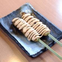 Meat or fish ball skewer with marinated cod roe and mayonnaise sauce