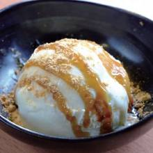 Kinako (roasted soy bean powder) ice cream with brown sugar syrup topping