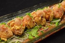 Deep-fried chicken with pickled plum and grated daikon radish
