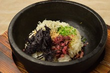 Stone-cooked rice with laver seaweed and pickled plum with whitebait