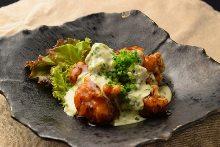 Fried jidori chicken with vinegar and tartar sauce meal set