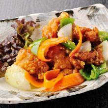Chicken and vegetable with black vinegar based ankake sauce set meal