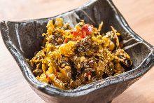 Karashi takana (Japanese mustard greens pickled with chili)