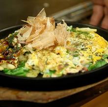 Pork and green onion okonomiyaki