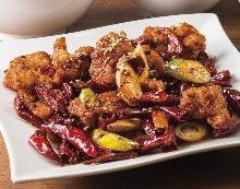 鶏肉と唐辛子の炒め