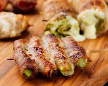 アスパラ豚肉巻きの串焼き