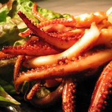 イカゲソの生姜焼き
