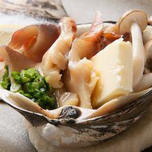 活ホッキ貝の殻焼き