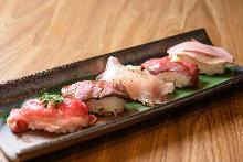 肉の寿司盛り合わせ