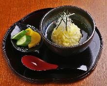 おにぎりの天ぷら出汁茶漬け