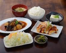 麻婆茄子と白身魚のフライ定食