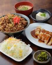 牛カルビ丼とチキン南蛮定食