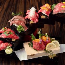 牛肉の寿司盛り合わせ