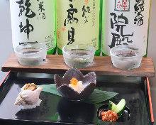 日本酒飲み比べセット(前菜・珍味2~3品付き)