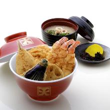 튀김 덮밥(맑은 장국, 절임 포함)