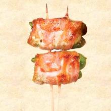 피망 치즈 돼지고기 말이 꼬치