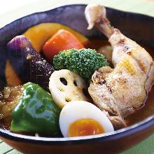 야채 치킨 수프 카레