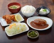 햄버그스테이크 영계 튀김 정식