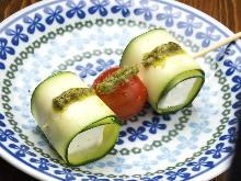 크림치즈 야채 말이 꼬치 구이