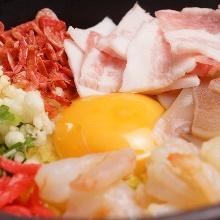 돼지고기 새우 오코노미야키
