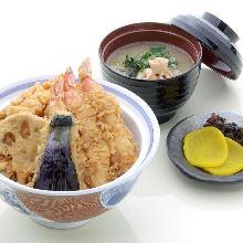 天妇罗盖饭(附清汤、腌菜)