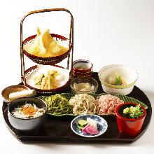 吻仔鱼海鲜盖饭和荞麦面御膳套餐