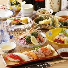 刺身、寿司、天妇罗御膳套餐