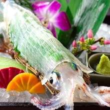 鲜活乌贼生鱼片