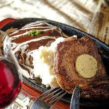 沙朗牛排和汉堡排拼盘