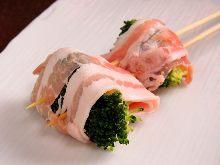 蔬菜猪肉卷烤串