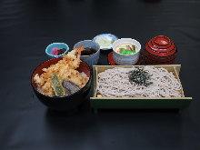天妇罗盖饭配荞麦面套餐