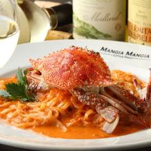 梭子蟹番茄奶油意面