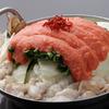 使用大量的历史悠久的老店Kanefuku明太子制作的「明太牛杂锅」