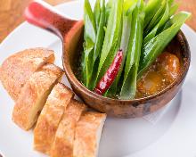 西班牙蒜香炖大虾香葱