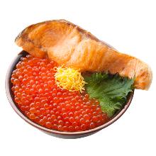 肥鲑鱼与鲑鱼卵亲子盖饭