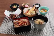 鳗鱼盒饭和天妇罗套餐