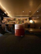 FOAMY GARIBALDI    campari guava cranberry orangeflower water whisky1tsp foam