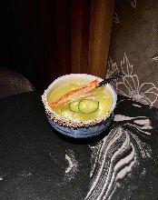 tequila mezcal lime mint cucumber shrub cointreau imitation crab mioga
