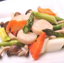 扇贝炒蔬菜
