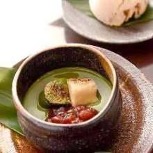 烤面筋和抹茶布丁日式甜点