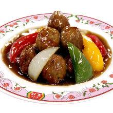 炒糖醋肉丸