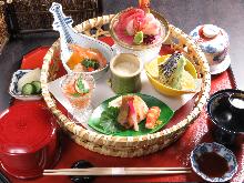 配生鱼片的天妇罗套餐