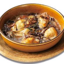 橄欖油烤牡蠣與醃豬頰肉