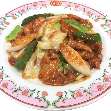 味噌炒肉類高麗菜