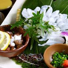 薄切章魚生魚片