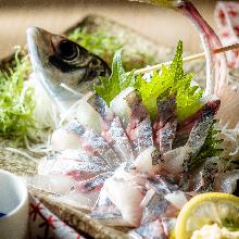 活竹莢魚生魚片