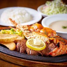 海鮮與肉排套餐